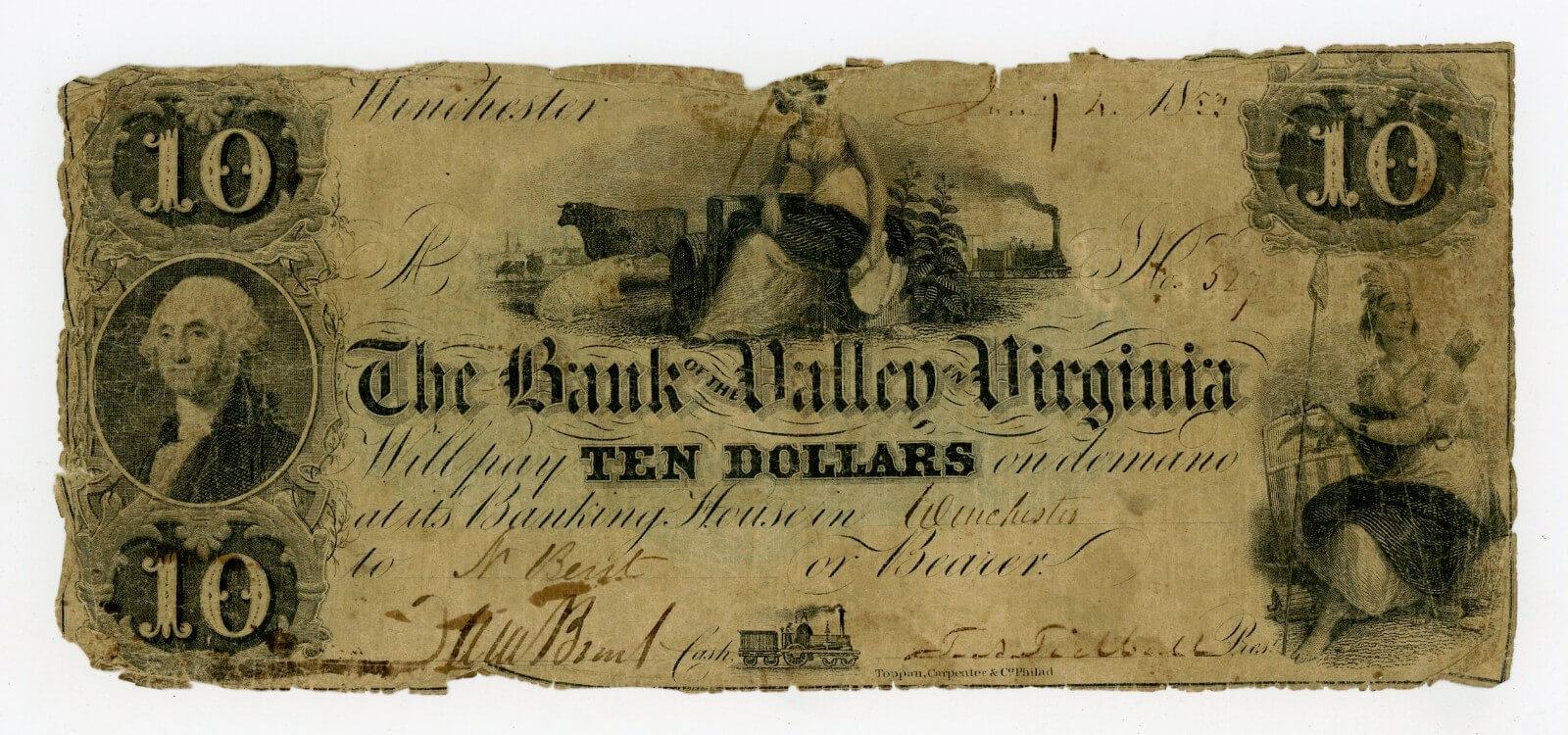 1852 $10 Bank Note - Bank of the Valley Winchester, VA