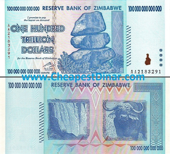 100 Trillion Zimbabwe Dollars About Unc