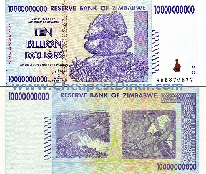 10 Billion Zimbabwe Dollars Circulated