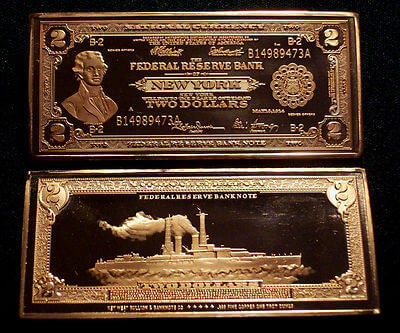 Battle Ship $2 Federal Reserve - 1918 S