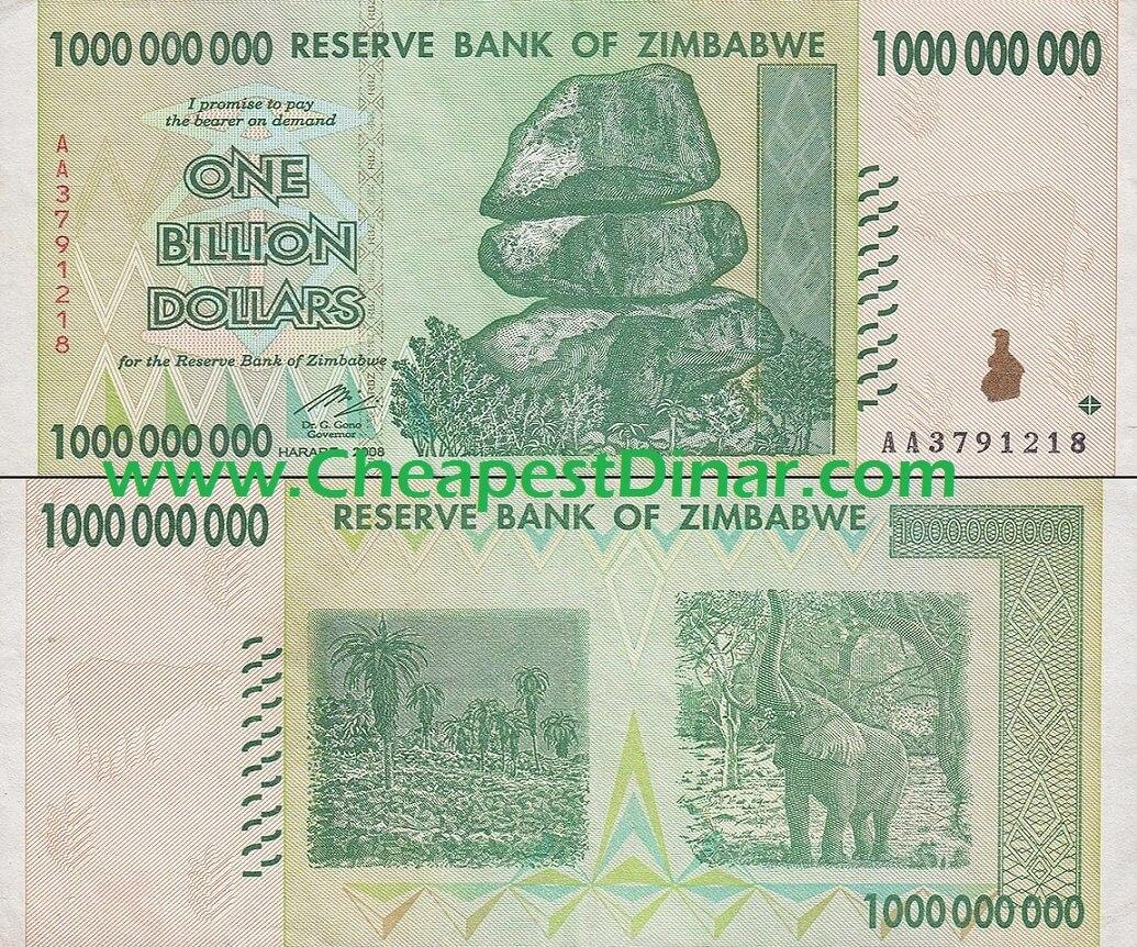 1 Billion Zimbabwe Dollars Uncirculated