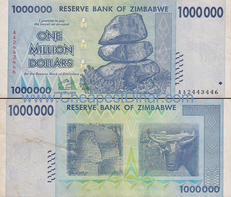 1 Million Zimbabwe Dollars - 1x 1 Million ZWD