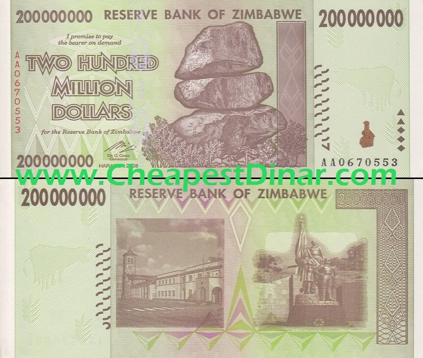 200 Million Zimbabwe Dollars Circulated