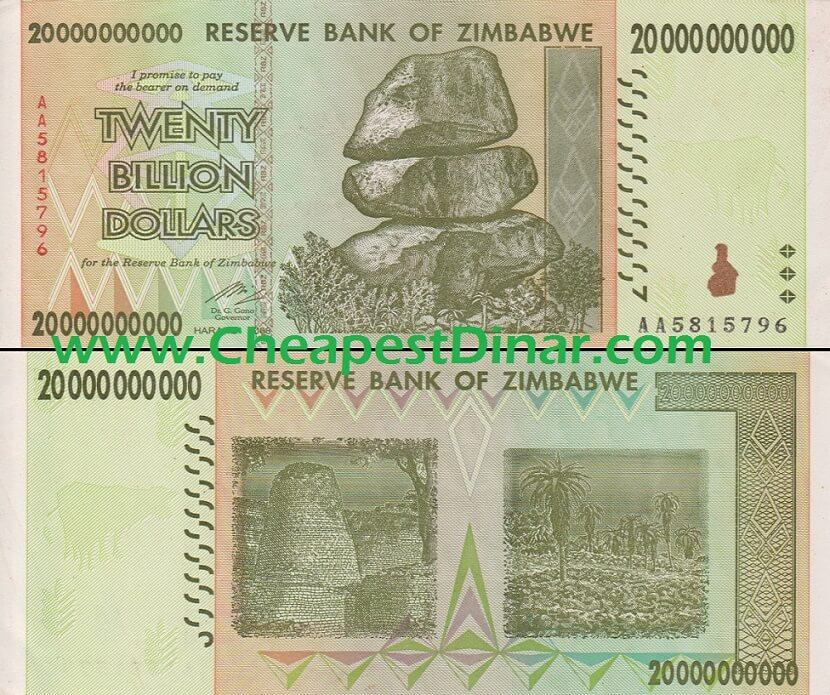 20 Billion Zimbabwe Dollars About Unc Est Dinar