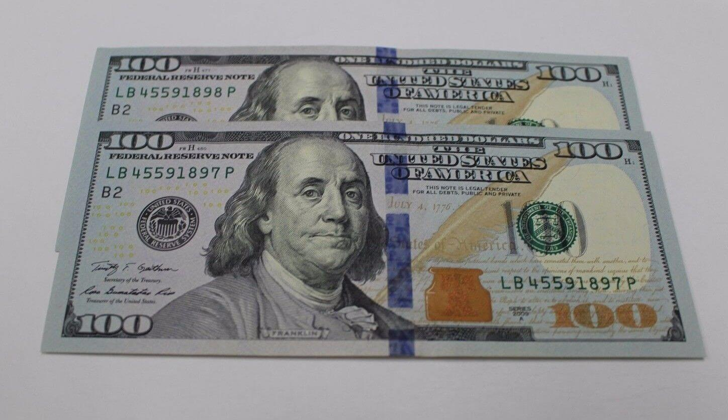 2x Uncirculated 2009 Series $100 US Notes