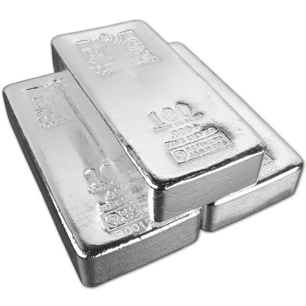 300 Troy oz .999 Silver - 100 oz Silver Bar x3