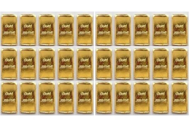 1 Grain Pure 24k Solid Gold Bullion Bars X30