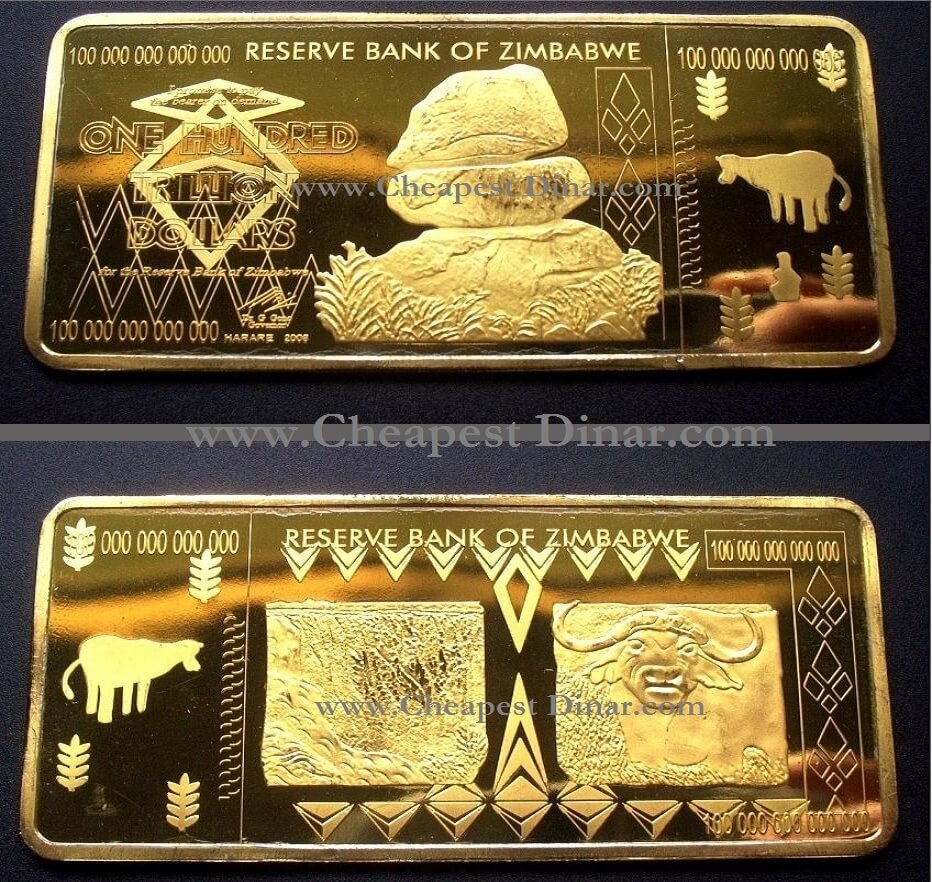 Gold Plated 100 Trillion Zimbabwe Bar