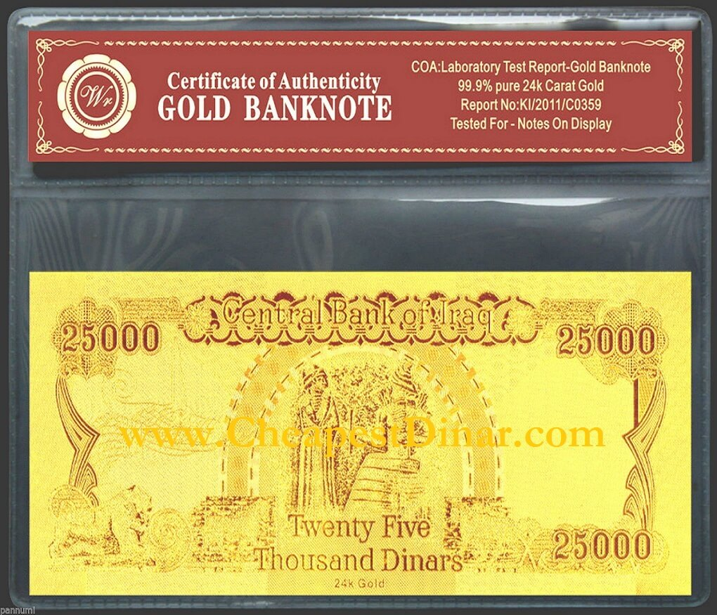 Gold Plated 25000 Iraqi Dinar Banknote