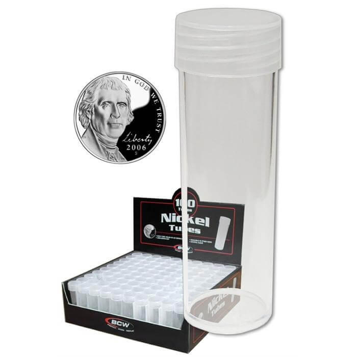 BCW - NICKEL Storage Tube w/ Cap - Clear Round