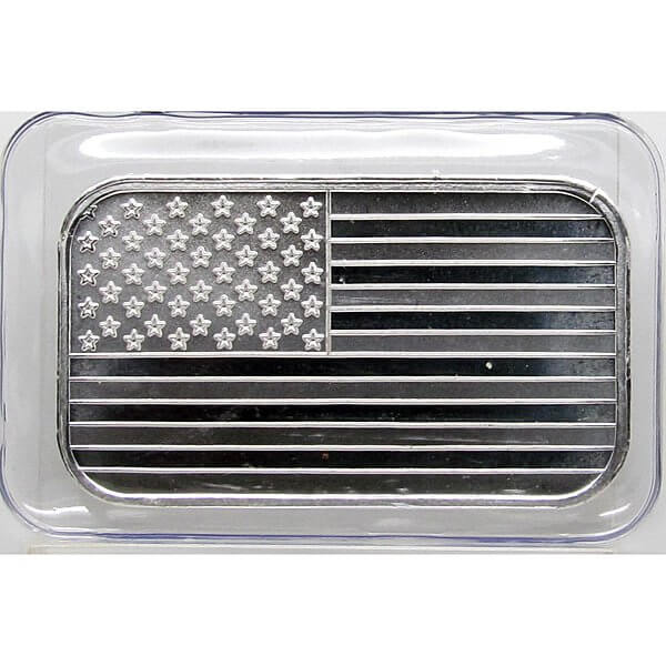 1 Troy oz .999 Silver FLAG Bar x1