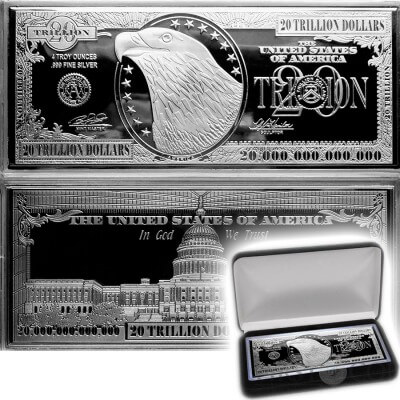 4oz Silver Banknote Bar $20 Trillion Proof .999