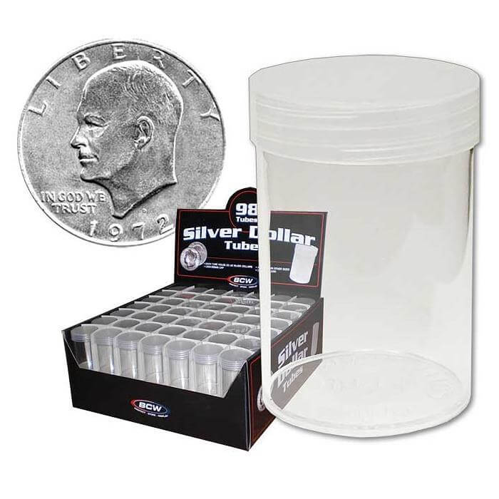 BCW - Silver Dollar Storage Tube w/ Cap - Clear Rnd