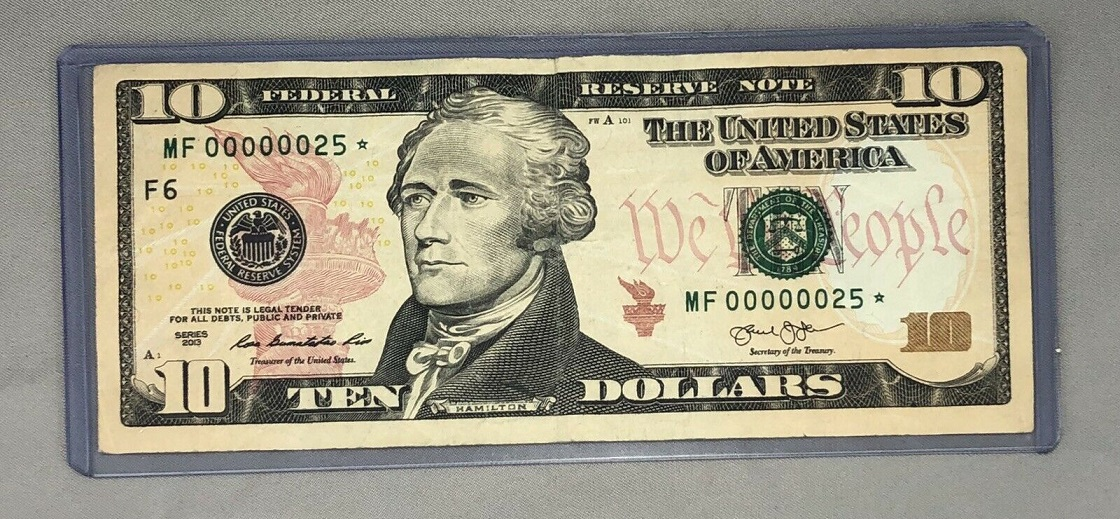 $10 Star Note Extremely Low Serial #25