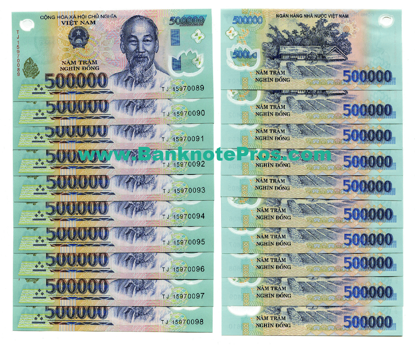 5 Million Vietnam Dong - 500K Notes UNCirculated