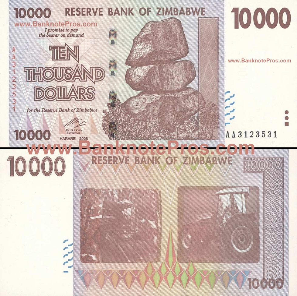 10,000 Zimbabwe Dollars - Good Condition