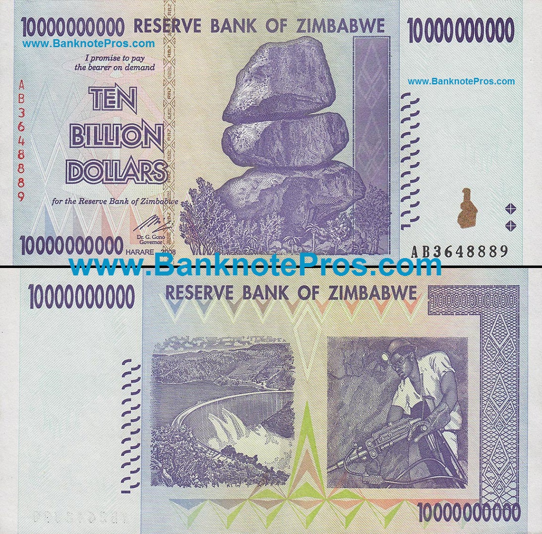 10 Billion Zimbabwe Dollars About Unc Est Dinar