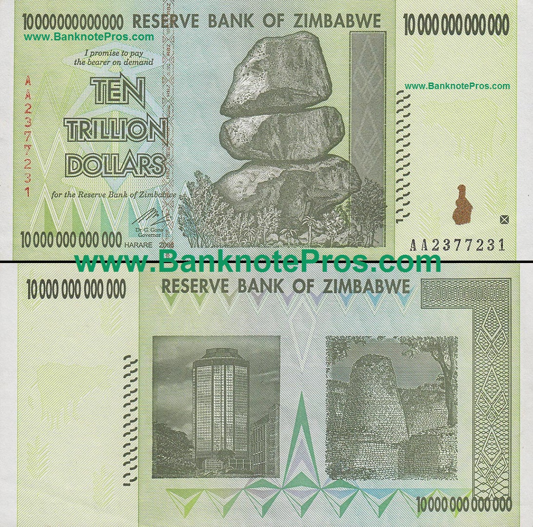 10 Trillion Zimbabwe Dollars Good Condition Est