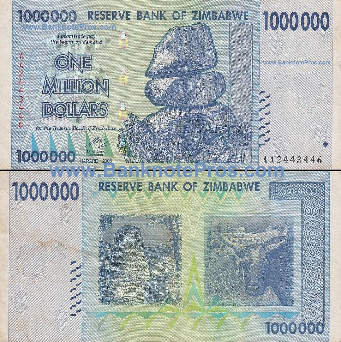 1 Million Zimbabwe Dollars Fine Condition Est Dinar