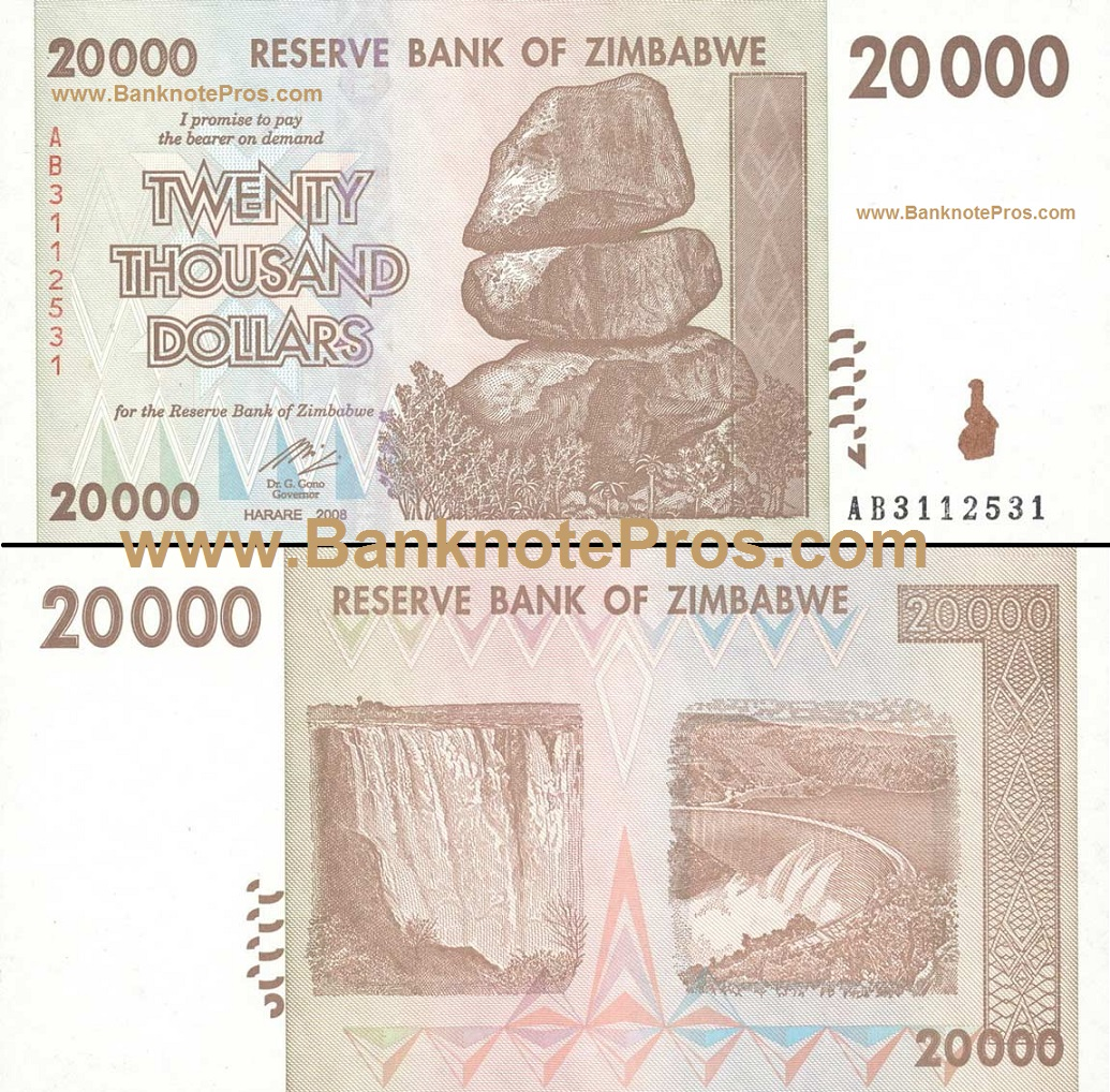 20,000 Zimbabwe Dollars - Good Condition