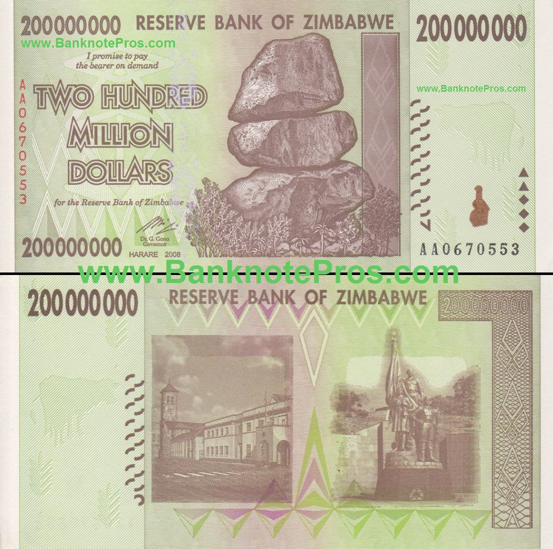 200 Million Zimbabwe Dollars - Fine Condition