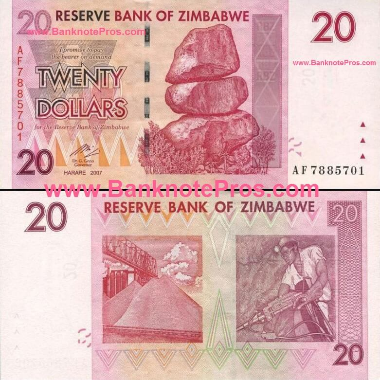 20 Zimbabwe Dollars - Fine Condition