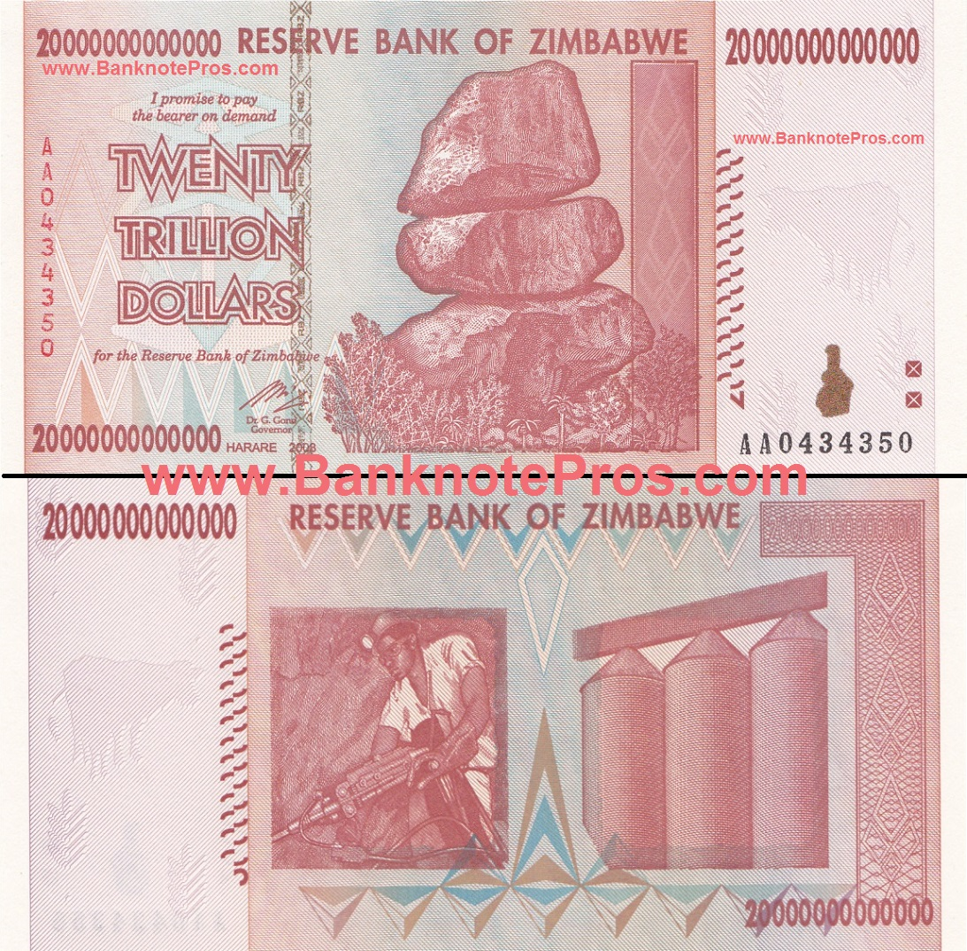 20 Trillion Zimbabwe Dollars - UNCirculated