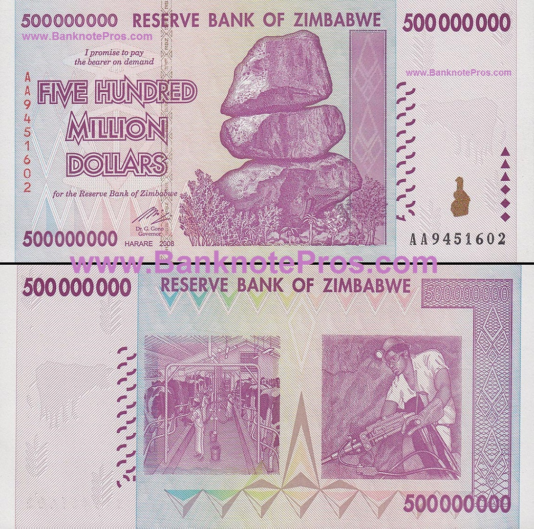 500 Million Zimbabwe Dollars Good Condition
