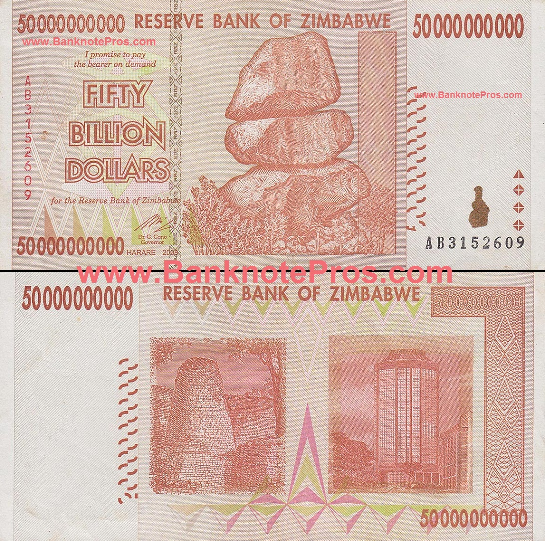 50 Billion Zimbabwe Dollars - Fine Condition