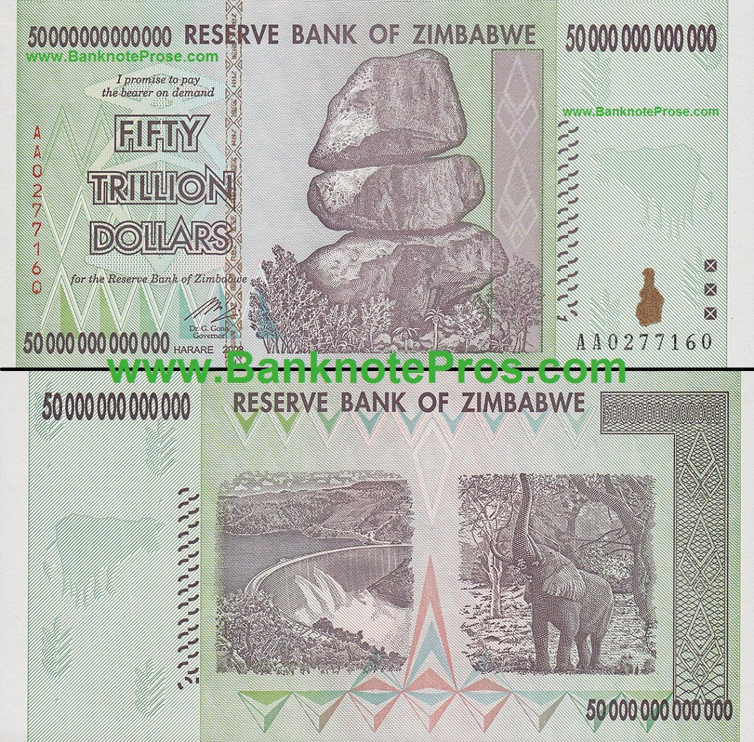 50 Trillion Zimbabwe Dollars Good Condition