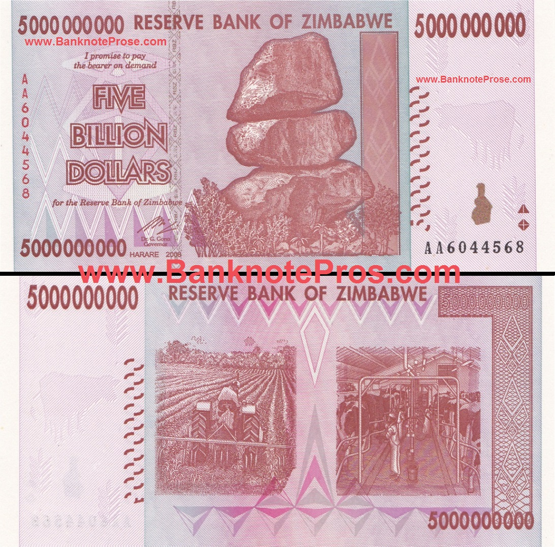 5 Billion Zimbabwe Dollars - Good Condition