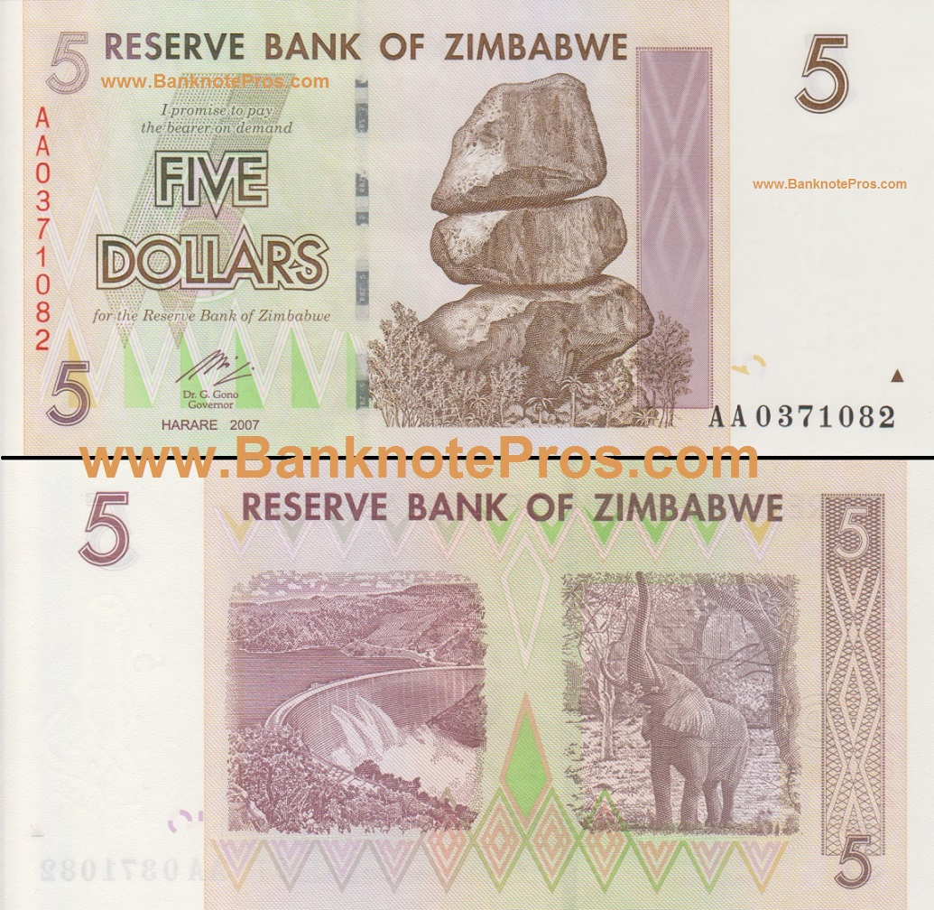 5 Zimbabwe Dollars - Good Condition