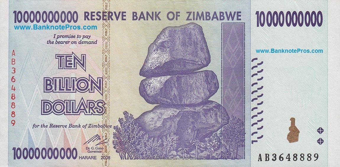 10 Billion Zwr Est Dinar Iraqi Zimbabwe